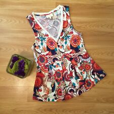 Anthropologie Deletta Amalia Mod Floral Pleated Peplum Sleeveless Top Size S