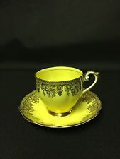 Queen Anne Fine Bone China Tea Cup and Saucer Lemon Yellow Gild Gold Grape Vine