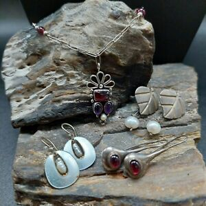 Vintage Sterling Silver Mixed Jewelry Lot Garnet Pearl Amethyst Necklace...