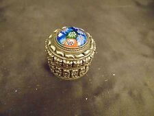 Tiny silver round gift box cover blue stone top ring holder millliafornie art