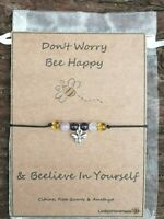 DEPRESSION SUPPORT BRACELET SELF ESTEEM ANXIETY HEALING GEMSTONE GIFT CARD UK