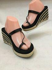 Volatile Black Patent Strappy Wedge Platform Toe Strap Sandals Women's Size 9