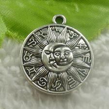 28x25mm Free Ship 84 pcs tibet silver round sun face charms pendant B4830