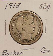 1913-- SILVER BARBER HALF DOLLAR -SEMI-KEY DATE- G+  GOOD+ A FEW SCRATCHES