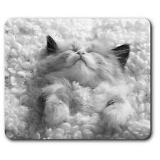 Rectangle Mouse Mat BW - Cute Sleeping Kitten Cats Pets Animals  #41059