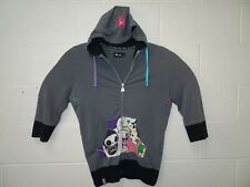 Tokidoki Women Full Zip 1/2 Sleeve Hoodie Adios Cartoon Anime Medium Gray