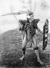 Dayak Warrior with Sword & Shield Baram Borneo 1912 6x5 Inch Reprint Photo
