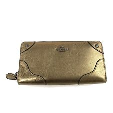 Coach Womens Wallet Zip Around Leather Bronze Accordion Multicompartment