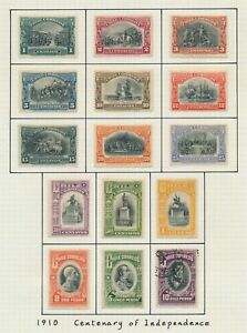 CHILE STAMPS 1910 CENTENARY OF INDEPENDENCE SET TO 10p, VALUES TO 5p MINT OG