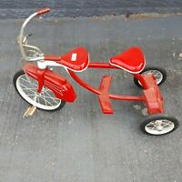 Vintage Rare Two Seat Tricycle Red White Handle Bar Bell All Metal 24 Inches