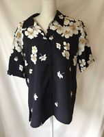 Tan Jay Button Up Blouse Dark Blue with Floral Print Size 12 Polyester EUC