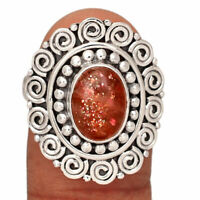 Rainbow Sunstone - Madagascar 925 Sterling Silver Ring Jewelry s.9 AR200766 236A