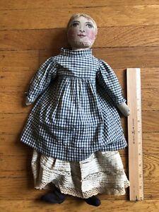 "Antique Early Primitive Folk Art Cloth Handmade 15"""