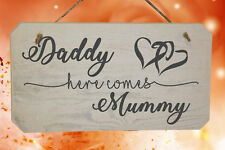 Page Boy Wooden Sign Daddy Here Comes Mummy Funny Wedding Sign for Flower girls