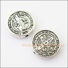 4 Jesus Cross Round Charms Tibetan Silver Tone Spacer Beads 15mm