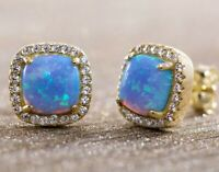 14K Gold Plated 4CT Blue Opal Stud Earring