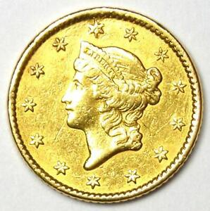 1852 Liberty Gold Dollar Coin G$1 - AU Detail (Damage) - Rare Classic Gold Coin!