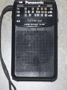 Panasonic RF-580 FM AM Portable Pocket Black Radio - Works Great
