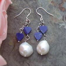 natural White Keshi Pearl Lapis Earrings Silver Hook