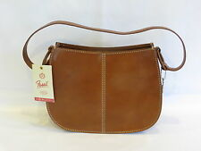FOSSIL Vintage British Tan Hard Leather 1 Strap Stitching Accents Satchel - NEW!