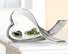 Wunderschöne Skulptur Dekofigur Herz aus Keramik weiß/silber 15x25 cm