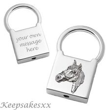 HORSE Head in Sterling Silver - Padlock Keyring with Personalised Engraving