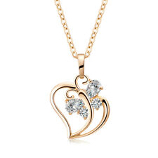 Cute womens Butterfly Crystal Heart Pendant chain  long Necklace Gold Filled