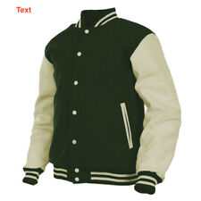 Mens Varsity Jacket Wool Body Genuine Leather Sleeves Snap Button College Jacket