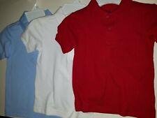 Boys Chaps Brand School Uniform Polo Shirt Lt Blue White Red Size 4 5/6