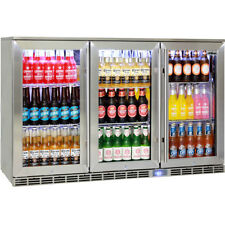 New Rhino Glass 3 Door Alfresco Outdoor Bar Fridge All Stainless Energy Efficien