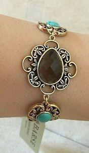 Barse Bracelet, Genuine Turquoise & Smoky Quartz with Bronze