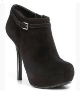 Guess Gracia Black Suede Angkle Boots Size 6.5
