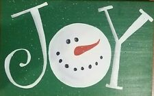 Handmade Holiday/Winter Wood Sign/Plaque Green Joy Snowman Wall decor **NEW**