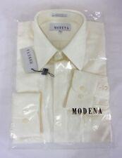 Modena Men's Long Sleeve Diamond Pattern Dress Shirt Ivory 15 1/2 34/35 179F