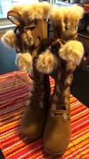 Sporto Paula Waterproof White Suede Tall Boot with Pom Poms Winter White 8M-Nwob