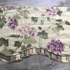 Waverly Parchment Hydrangea Valance Purple Striped Layered Scalloped 78 x 16