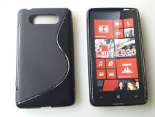 Schwarz Nokia Lumia 820 Schutz Hüllen SILIKON CASE Handy Tasche Cover