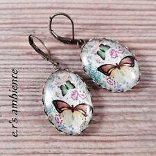 Ohrringe mit Glas-Cabochons, Ohrhänger, 0875, Schmetterling