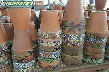 Large terra cotta clay pots w/ talavera painted rim