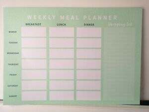 A4 Weekly Planner Meal Diary Pad Notes To Do List Organiser Food 26 Page Green