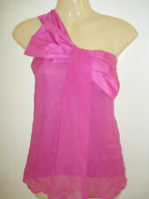 Womens Lipsy Silk Single Shoulder Bow Vest Top Blouse 8 UK 34 Eur Raspberry Pink