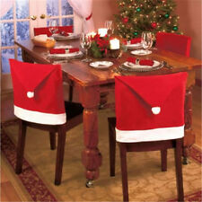 4 PCS Xmas Dinner Table Party Decor Gift Santa Clause Red Hat Chair Back Covers
