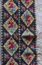 """Antique Hand Embroidered Silk & Cotton Hungarian Rose Panel c1918~16""""L X 7""""W"""
