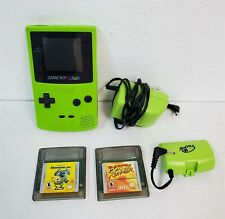 C157 VINTAGE NINTENDO GREEN GAME BOY COLOR W/ 2 GAMES INCLUDED - WORKING!