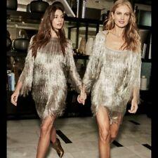 New $695 RACHEL ZOE Platinum Silver Della Fringe Metallic Slip on Party Dress S