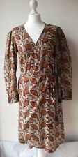 lidoworld DRESS wrapover shirt tie waisted botanical pattern cotton MEDIUM UK10