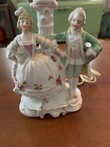 Vintage German Porcelain Dresden Flowers Figurine Lamp Courting Couple