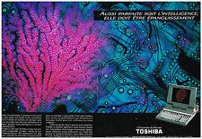 Publicité Advertising 1990 (2 pages) Ordinateur portable Toshiba