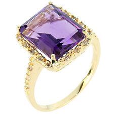 GENUINE AMETHYST & DIAMOND RING 10KT YELLOW GOLD NEW!!