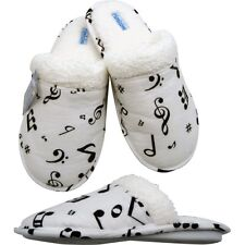 Music Notes Flannel Slippers (Medium: 6.5 - 7.5)